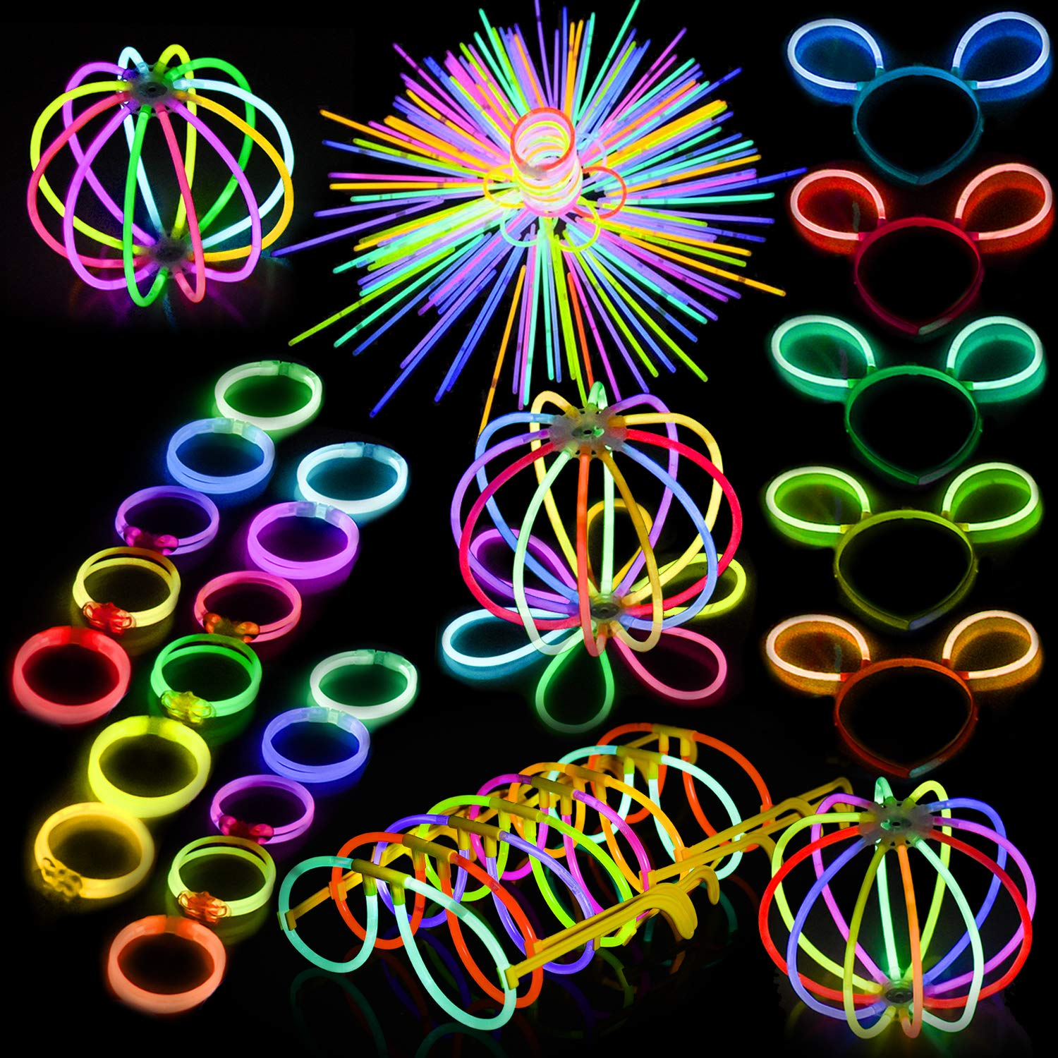FUN LITTLE TOYS Glow Sticks Bulk 200 8 Glowsticks and 300 Glowstick Connecters Total 500 PCs 7 Colors Glow in The Dark for Xmas Party Favors New Year Party Favors