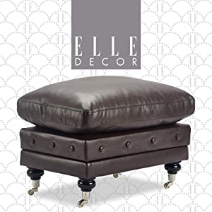 Elle Decor Amery Tufted Ottoman with Storage and Casters, Cushion Top, Upholstered Bedside Foot Stool, Small Space Design, Dark Brown Leather