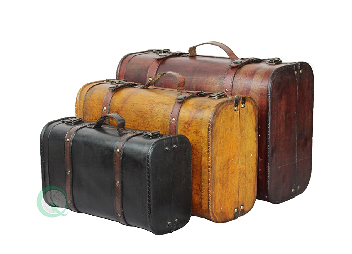 Vintiquewise(TM) 3-Colored Vintage Style Luggage Suitcase/Trunk, Set of 3