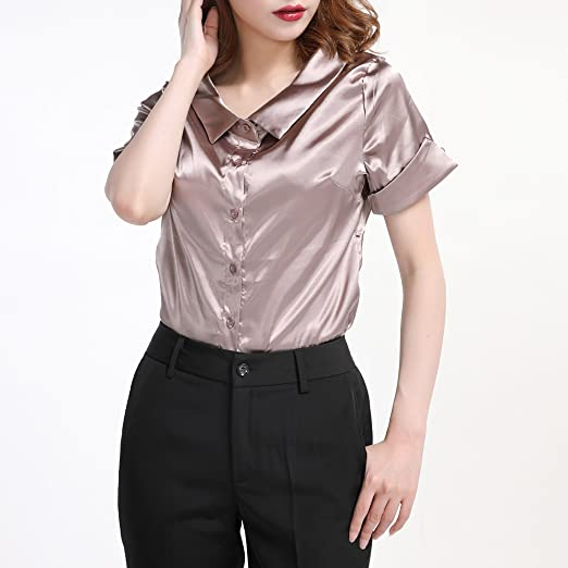 385c5f202 Women Faux Silk Satin Shirt Short Sleeve Button Down Formal Work Shiny  Blouse Top at Amazon Women's Clothing store: