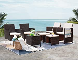 VICTONE Patio Porch Furniture Sets 7 Pieces, PE Rattan Wicker Sectional Chairs, Outdoor Garden Furniture Sets with Cushion and Glass Table (Beige)