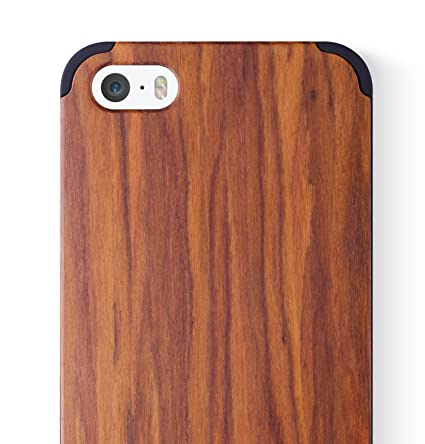 Icaseit Iphone Se Wood Case Premium Finish Unique Cases Lightweight Natural Wooden Hybrid Snap On Protective Cover For Iphone Se 5s 5 Acid