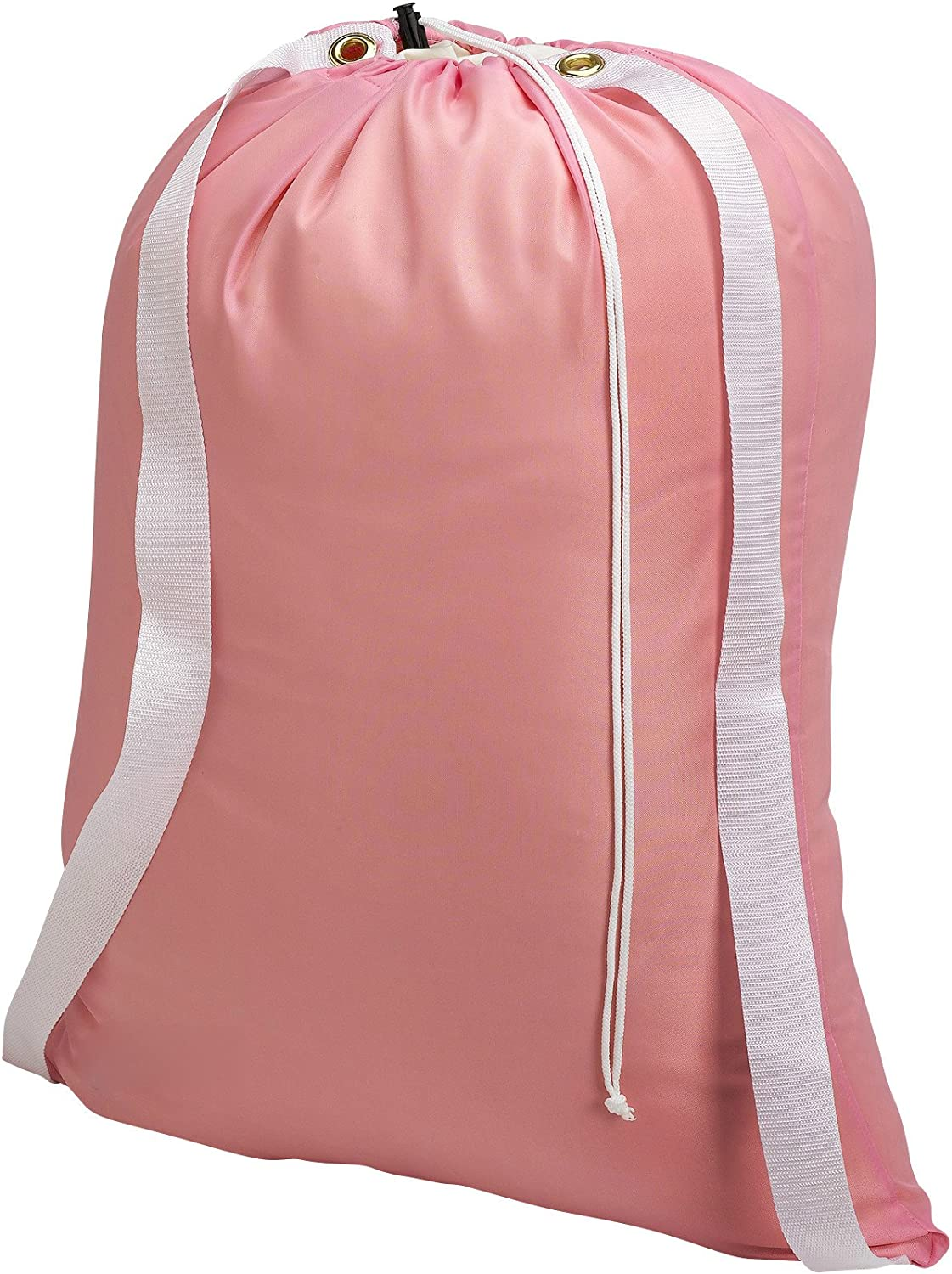 "Backpack Laundry Bag, Pink - 22"" X 28"" - Two Shoulder Straps for Easy Backpack Carrying and Drawstring Closure. These Nylon Laundry Bags Come in a Variety of Attractive Colors and Patterns."