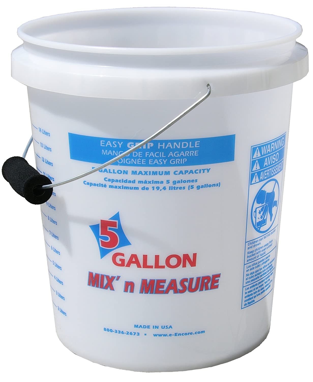 Encore Plastics 56511 Mix 'N Measure Plastic Pail with Foam Grip Handle, 5-Gallon