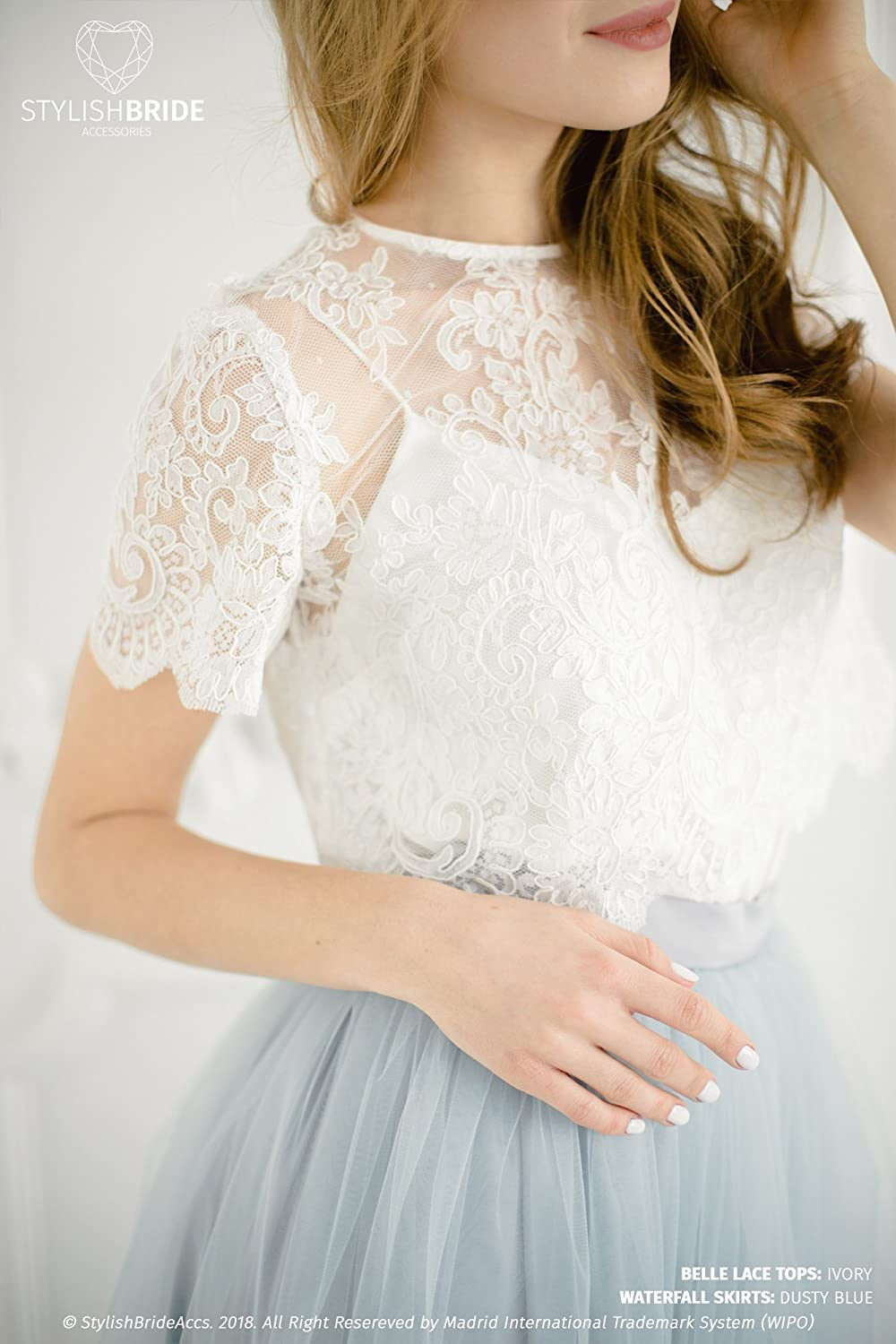 625038021bb8f Amazon.com: Belle Wedding Lace Crop Top, White or Ivory Lace Crop Top Tops,  Engagement lace top plus size: Handmade