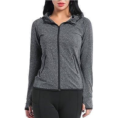898616c3b AMZSPORT Women's Running Jacket Long Sleeve Sports Hoodie with Zip Side  Pocket Grey S
