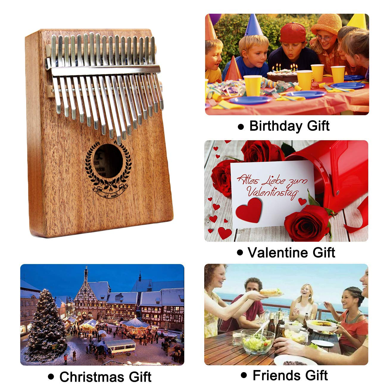 Kalimba 17 Keys Thumb Piano builts-in EVA high-performance protective box, tuning hammer and study instruction best gift For Kids Without Any Musical Basis Or Musician by Higohome (Image #8)