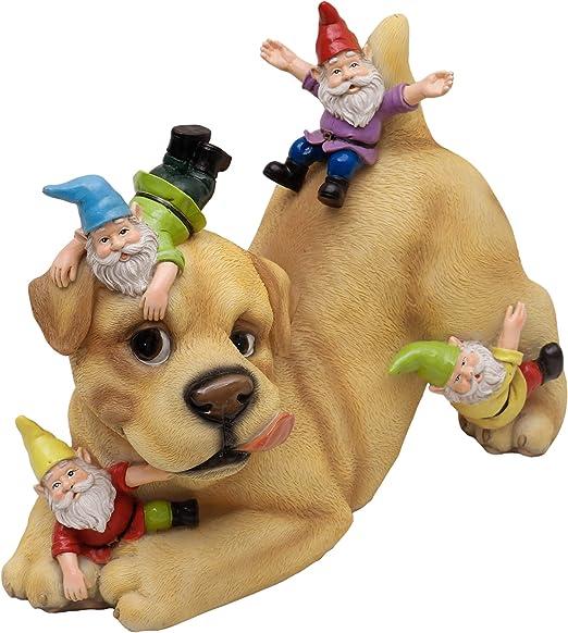 Fairy Garden Gnome Statue、28.5cmいたずらな犬とGnome Gardenの装飾品庭の芝生の秋の装飾とギフト用の屋外防水樹脂の妖精の装飾品
