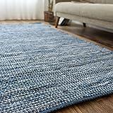 洗える 平織り デニムラグ ラグマット 「 デニム 」 約 190x190 cm ブルー 約 2畳 強 ホットカーペット対応