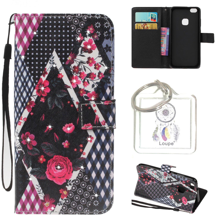 Coque pour Huawei P10 Lite (5,2 Pouces), Cuir Coque Strass Case Etui Coque étui de portefeuille protection Coque Case Cas Cuir Swag Pour Huawei P10 Lite (5,2 Pouces) + porte-clés(R)