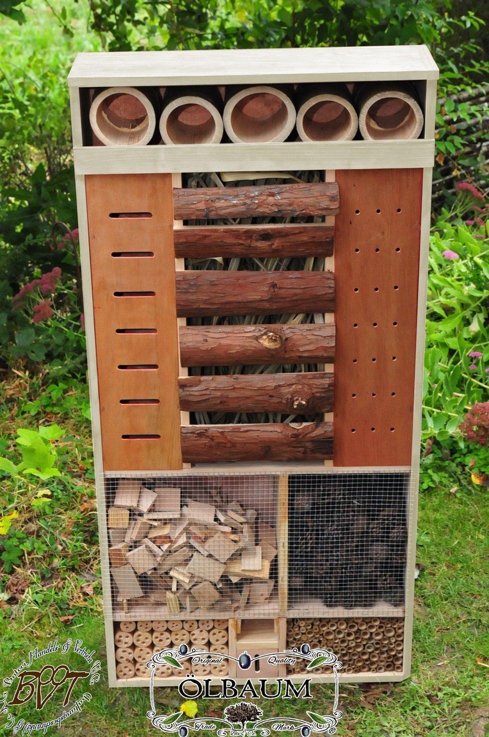 Insektenhotel, XXL, FRONT DUNKEL-BRAUN,wetterfest IN HELLGRAU LASURLACK,INXXL-VDU-BEL-grau002 robust,stabil,wetterfest,Insektenhotel Insektenhaus, Schmetterlingshaus Nistkasten, Insektenhotel,futterhaus für Insekten & Vögel,WINTERFEST,Schmetterlingshaus-Station Farbe grau hellgrau lichtgrau taupe / natur NEU,Ausführung Naturholz MIT WETTERSCHUTZ-FRONT für trockenes Futter, Vollholz