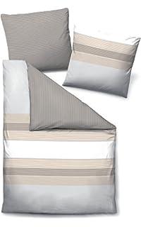 Biberna Bettwäsche Single Jersey Silber Grau Größe 155x220 Cm 80x80