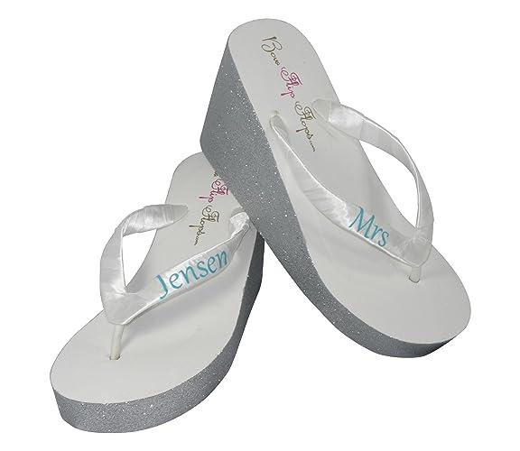 b97a3d72173de Amazon.com: Blue & Silver Personalized Wedding Shoes for the Bride ...
