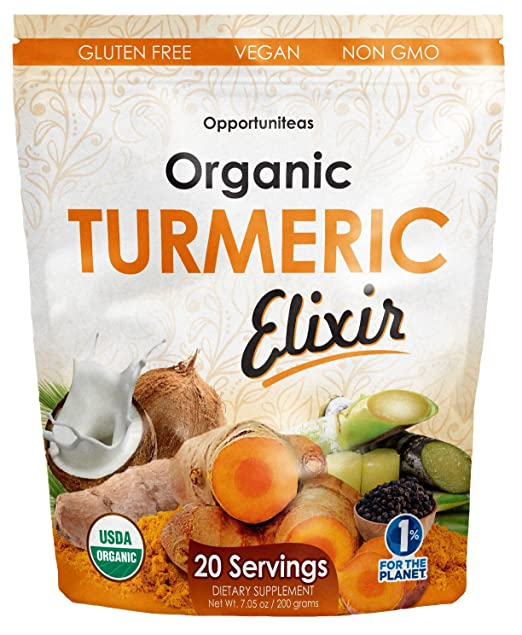 Organic Golden Milk Turmeric Elixir - The Easy Way To Get Natural Joint Support. Delicious Curcumin Supplement Drink Mix For A Smoothie, Shake, Juice, Tea, Or Food - Non GMO, Vegan, & Gluten Free
