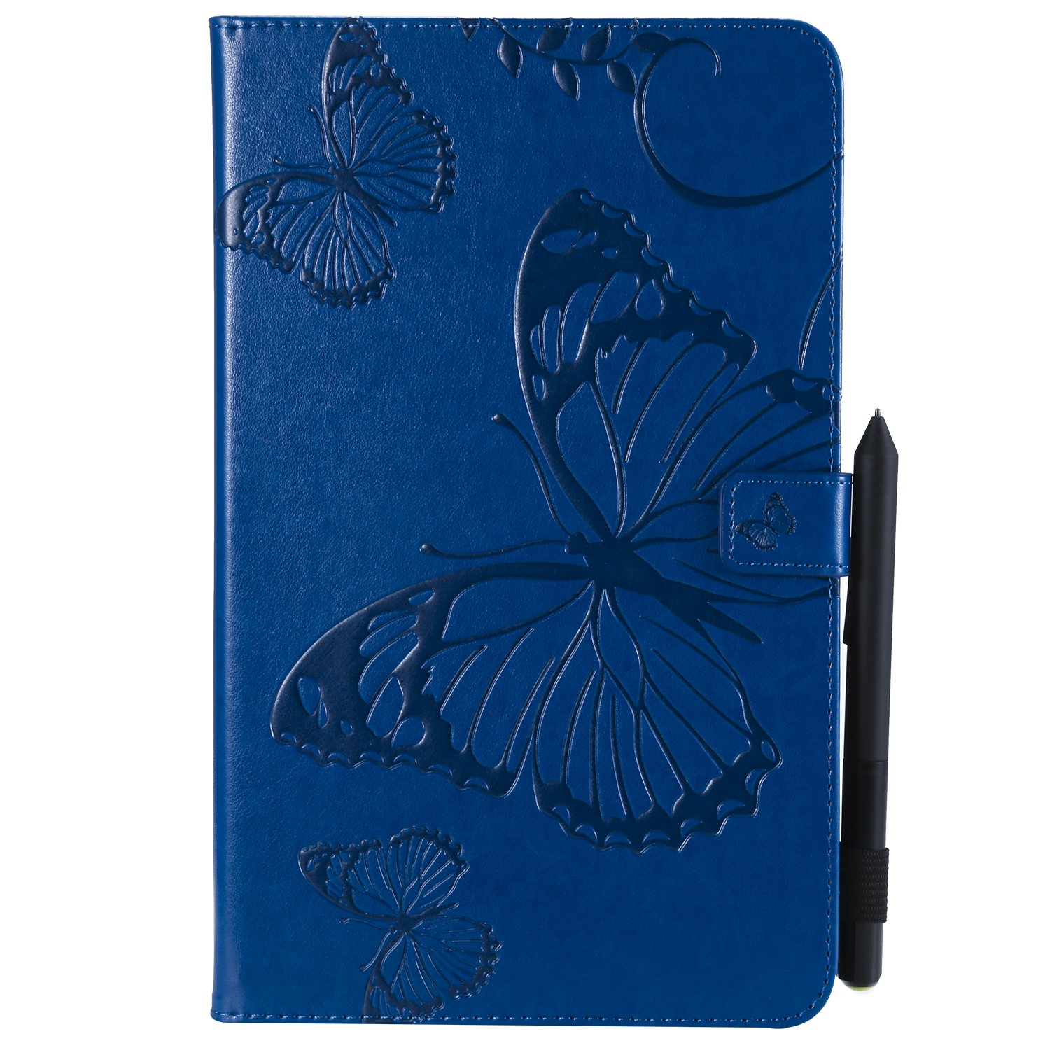 Bear Village Galaxy Tab a 10.1 Inch Case, Butterfly Embossed Anti Scratch Shell with Adjust Stand, Smart Stand PU Leather Case for Samsung Galaxy Tab a 10.1 Inch, Blue