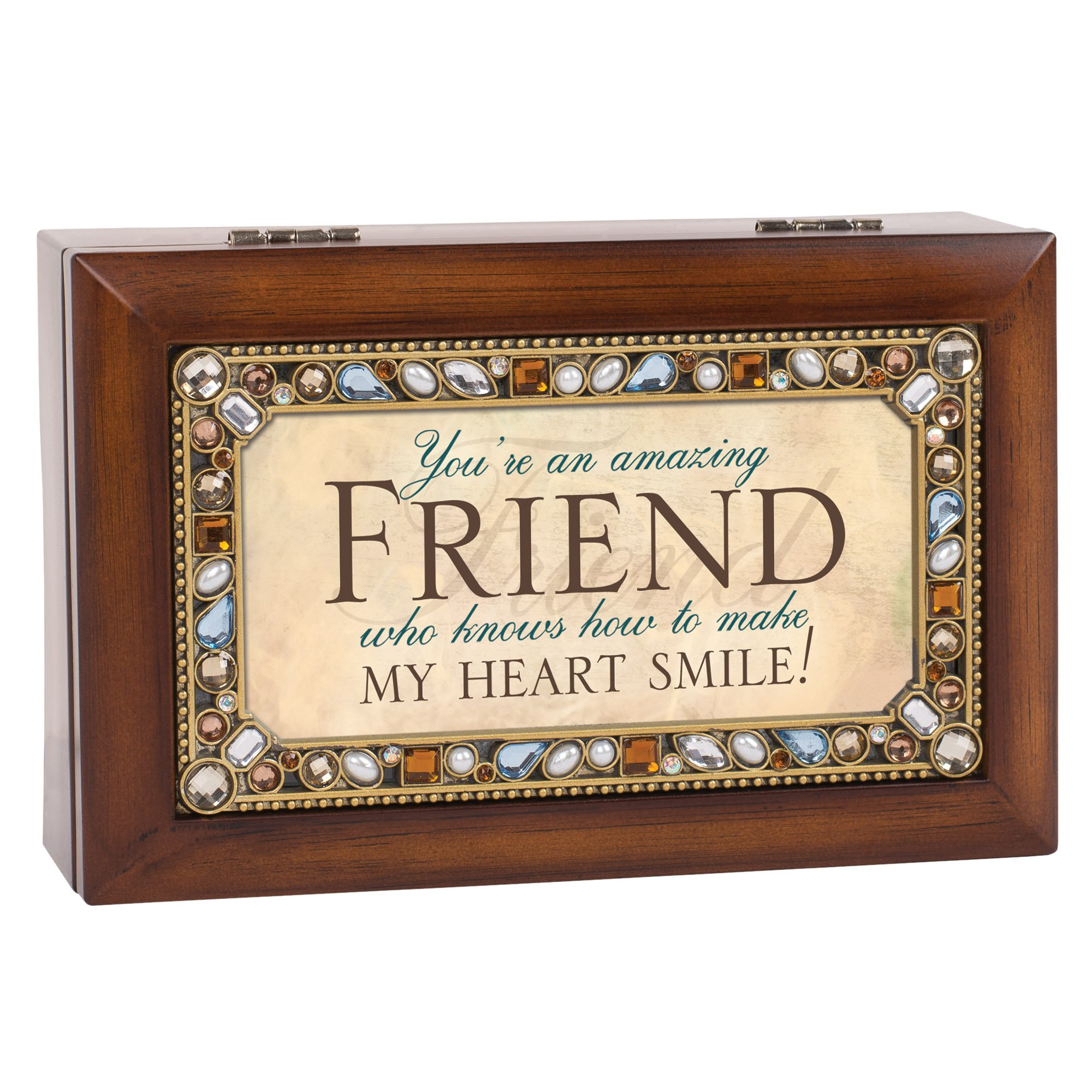 Cottage Garden Friend Jeweled Woodgrain Jewelry Music Box - Plays Tune Thats What Friends Are For by Cottage Garden (Image #3)
