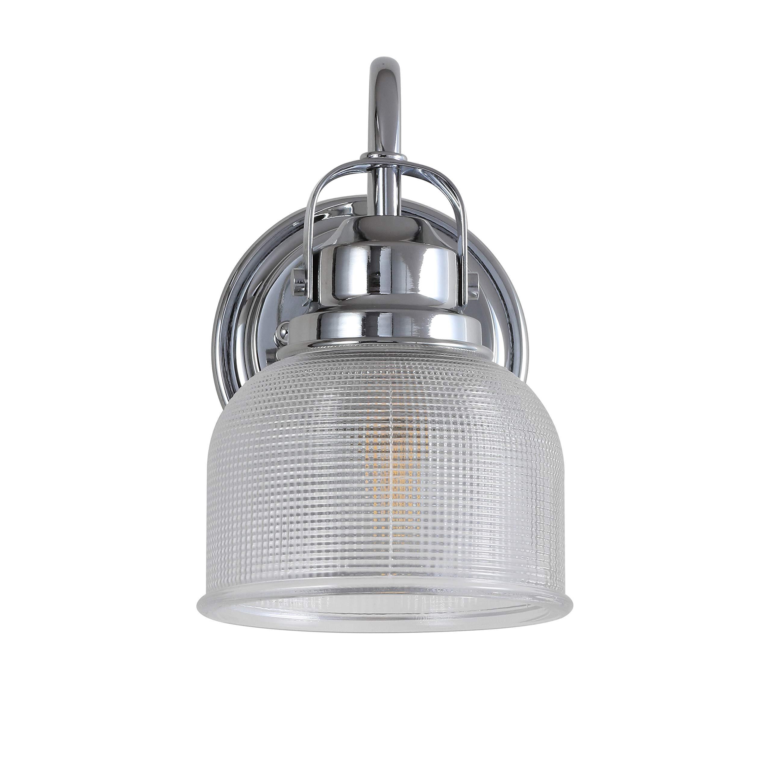 JONATHAN Y JYL7407A Virginia 5.75'' 1-Light Metal/Glass LED Vanity, Chrome/Clear