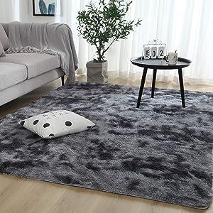 EVEPRUS Soft Modern Area Bedroom Rugs-5 x 8 Feet Indoor Shaggy Plush Area Rug for Boys Girls Kids Baby College Dorm Living Room Home Decor Floor Carpet,Dark Grey