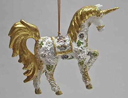 "Christbaumschmuck Figur /""Einhorn/"" Hänger dunkelblau-gold Hänger 15 cm"
