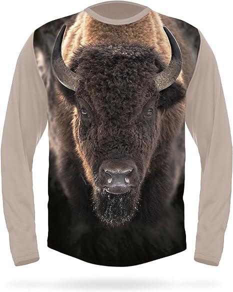 Men/'s American Bison Buffalo Camo Raglan Sweatshirt Wildlife Animal Hunting USA