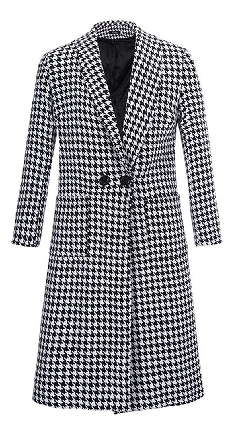 Darceil Women's Black and White Houndstooth Pattern Woolen Trench Coat