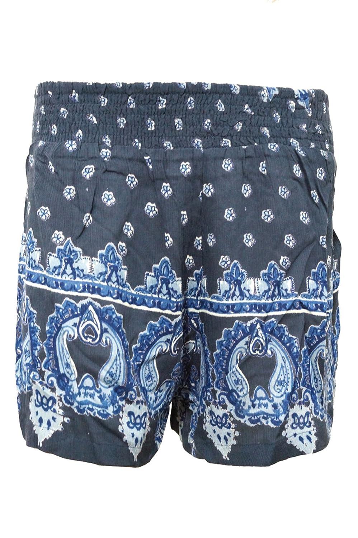 Women's Sexy ShortsHigh waisted Black Floral Print Crepe Beach Shorts