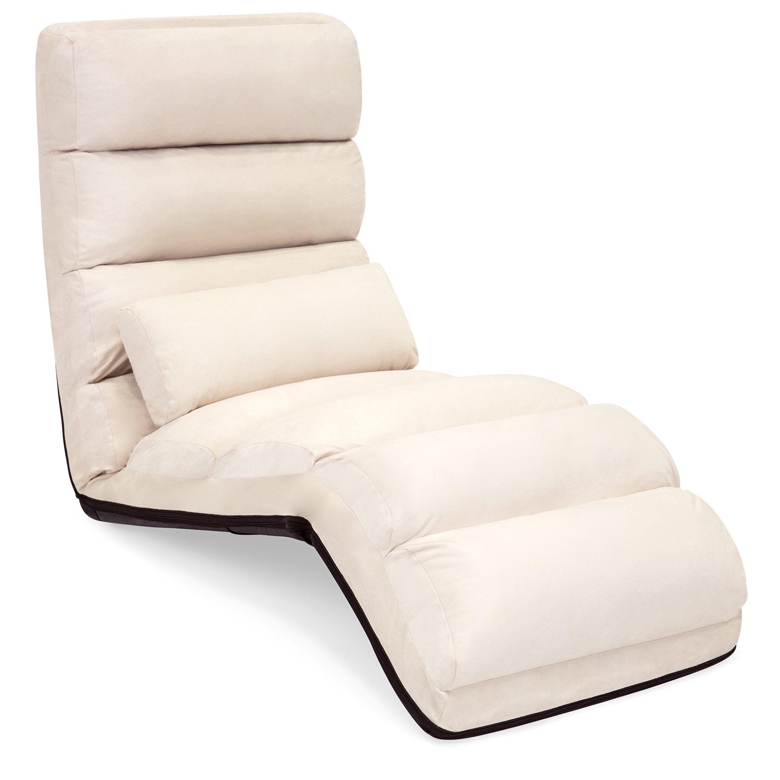 Best Choice Products Folding Floor Lounge Sofa Chair w/Pillow for Gaming, Lounging - Beige by Best Choice Products