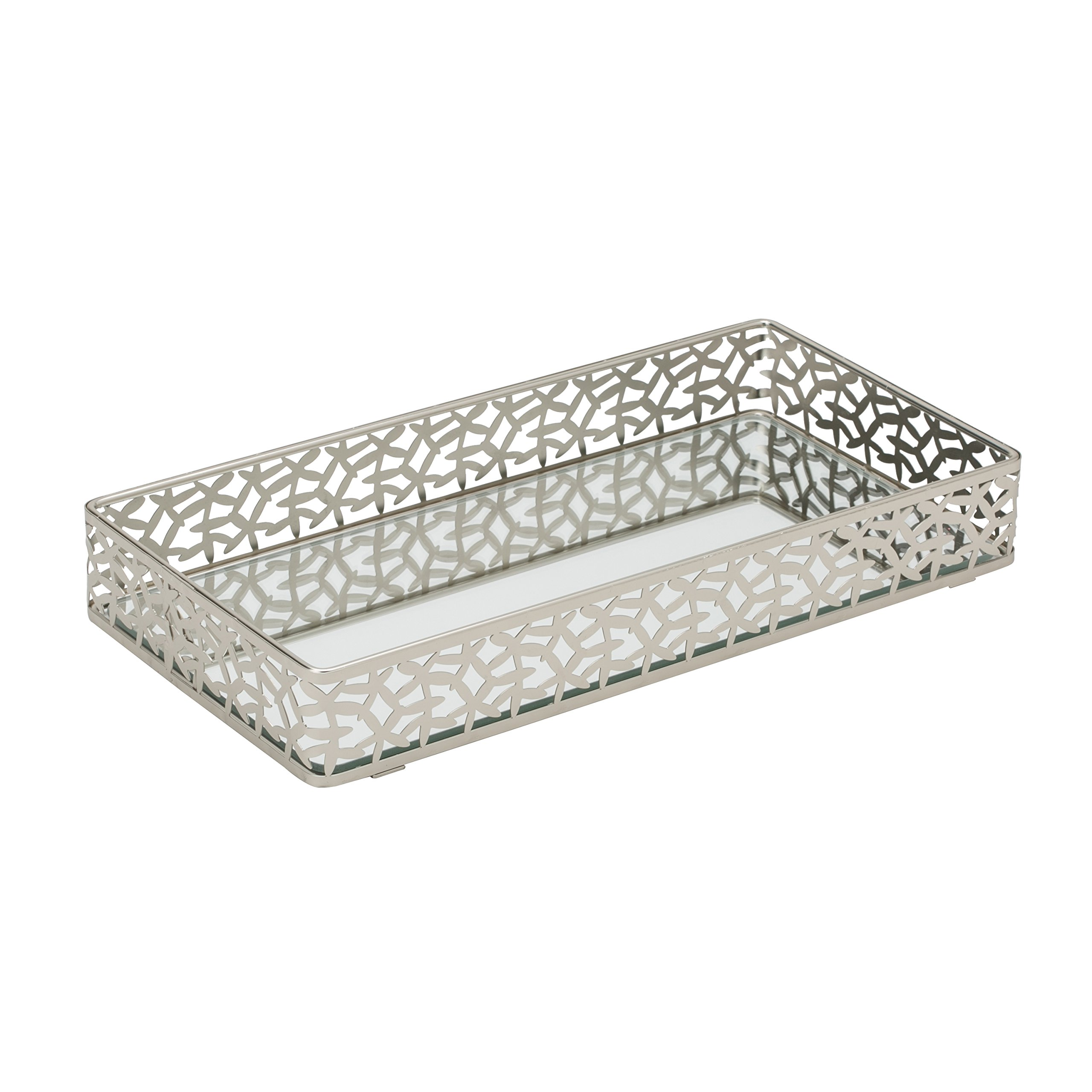 Home Details Mirrored Vanity Tray for Dresser, Perfume, Desk, Cosmetic & Jewelry Organizer, Decorative, Satin Silver