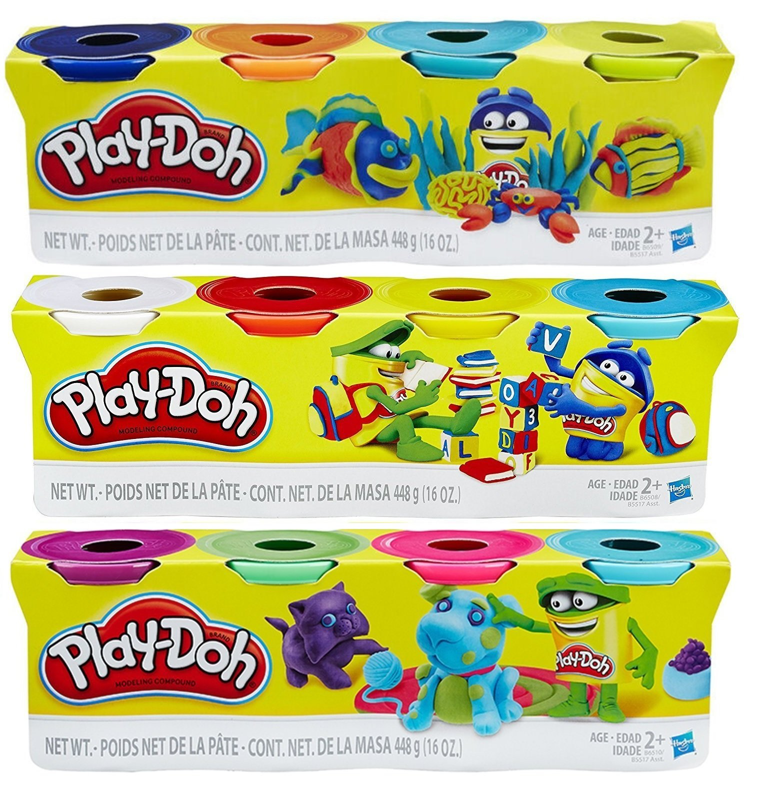 Play-Doh HASB5517BAMZ 4-Pack of Colors Gift Set Bundle (12 Cans-48 Oz)