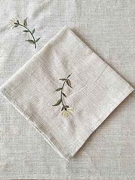 ZHFC Ropa de cama bordado servilleta servilleta agua tetera MAT posando background cubierta de tela toallas 27 * 27cm 1 block,Lino color primario,27 * 27cm: ...