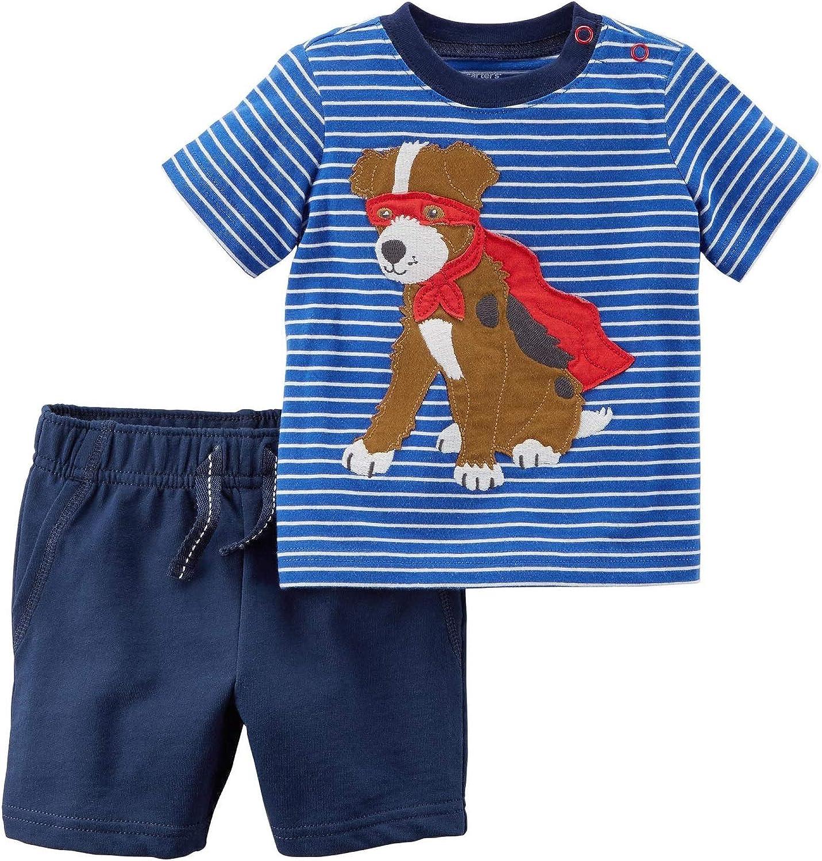 9 Months Blue Carters Baby Boys 2 Piece Super Dog Short Set