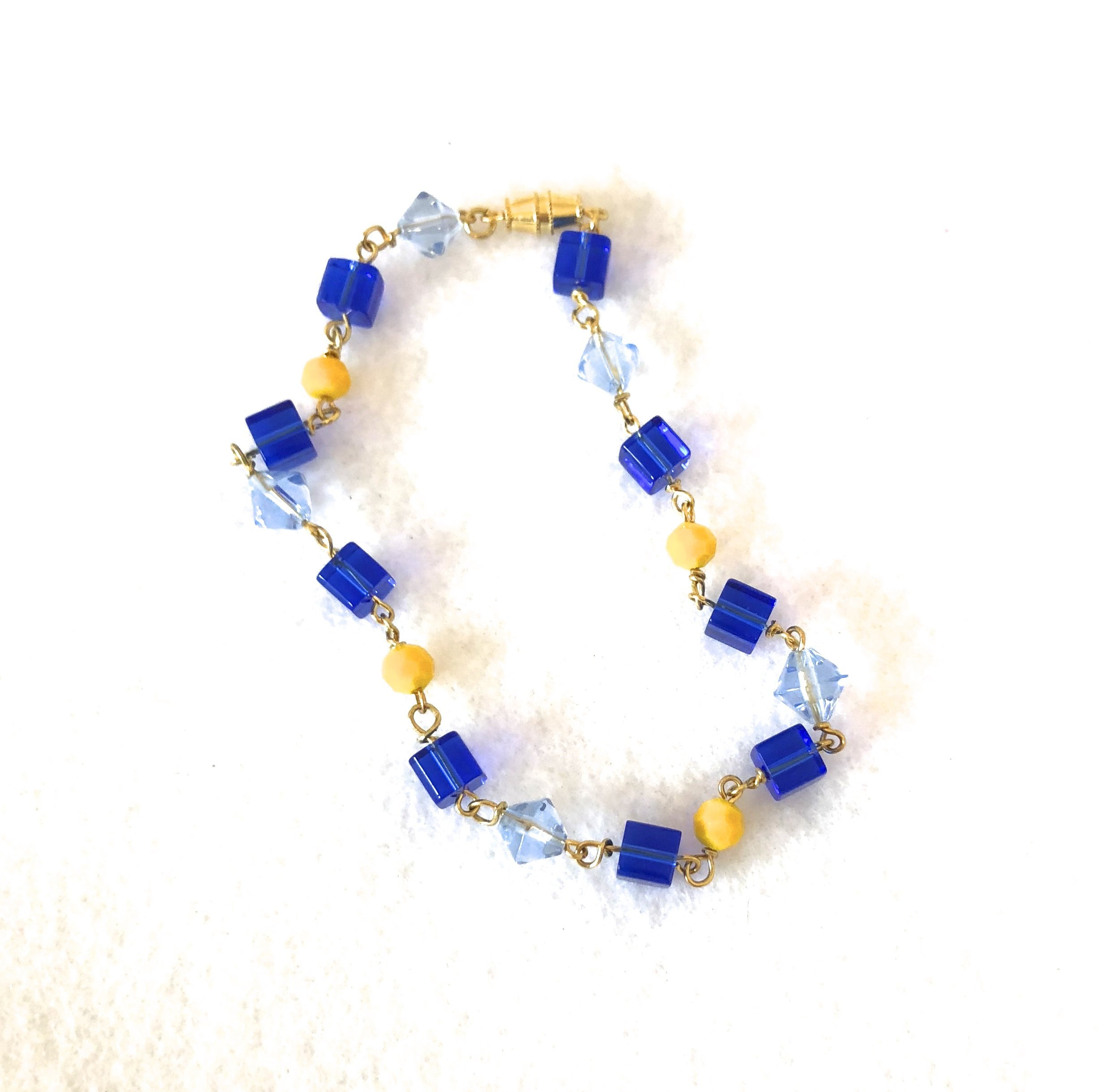 ngacraft 9'' Yellow Blue Beaded Anklet summer anklet beachy anklet yellow anklet cobalt blue bead cube beads bicone beads