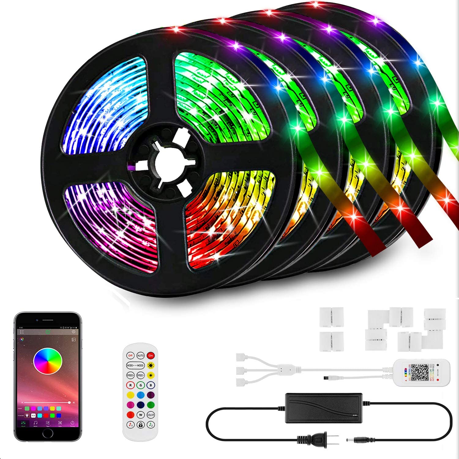 66ft/20M LED Strip Lights Kit,LED Tape Strips,RGB LED Light Strips,Sync to Music,Smart App Strip Light,Bluetooth Controller,Light Strips for Room,Remote LED Lights for Bedroom Home Party