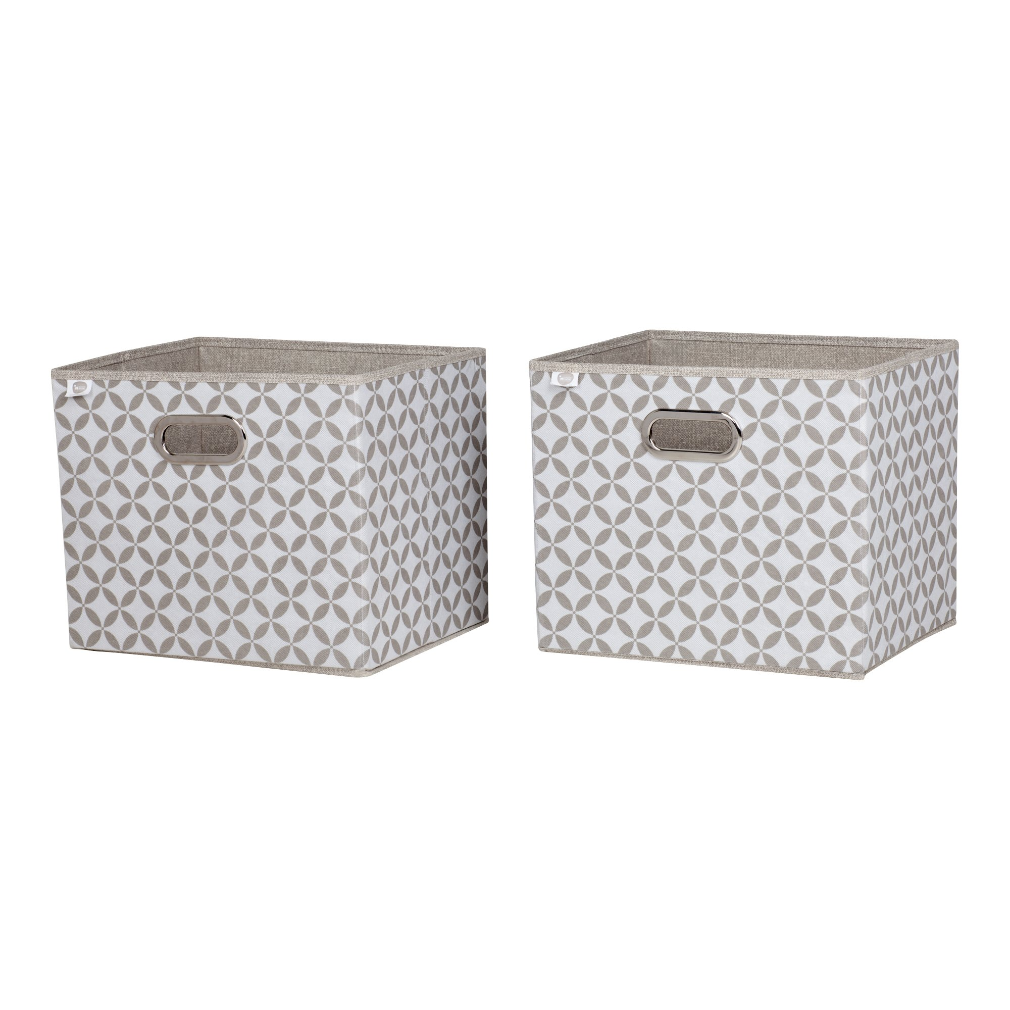 South Shore Storit Fabric Storage Baskets with Pattern (2 Pack), Taupe and White by South Shore