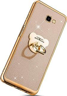 Herbests Kompatibel mit Samsung Galaxy J4 Plus 2018 Glänzend Diamant Kristall Strass Glitzer Handyhülle Handytasche Überzug Silikon Schutzhülle TPU Bumper Case mit Handy Fingerhalterung,Gold
