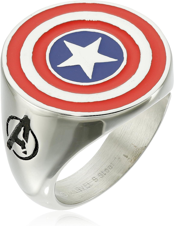 Marvel Comics Men's Stainless Steel Enamel Captain America Ring, Size 10