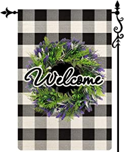 Coskaka Welcome Lavender Wreath Garden Flag,Vertical Double Sided Black and White Buffalo Plaid Check Seasonal Spring Summer Holiday Burlap Yard Outdoor Decoration 12.5 x 18