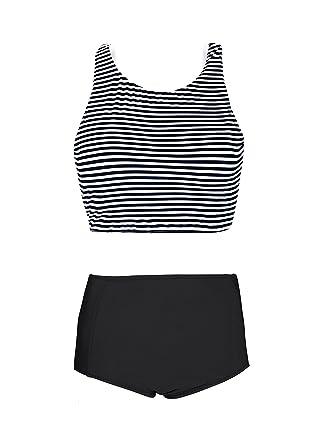 770a0cba5d GEEK LIGHTING Women Girls High Waisted Swimsuit Bathing Suits Bikini Set  Black X-Large