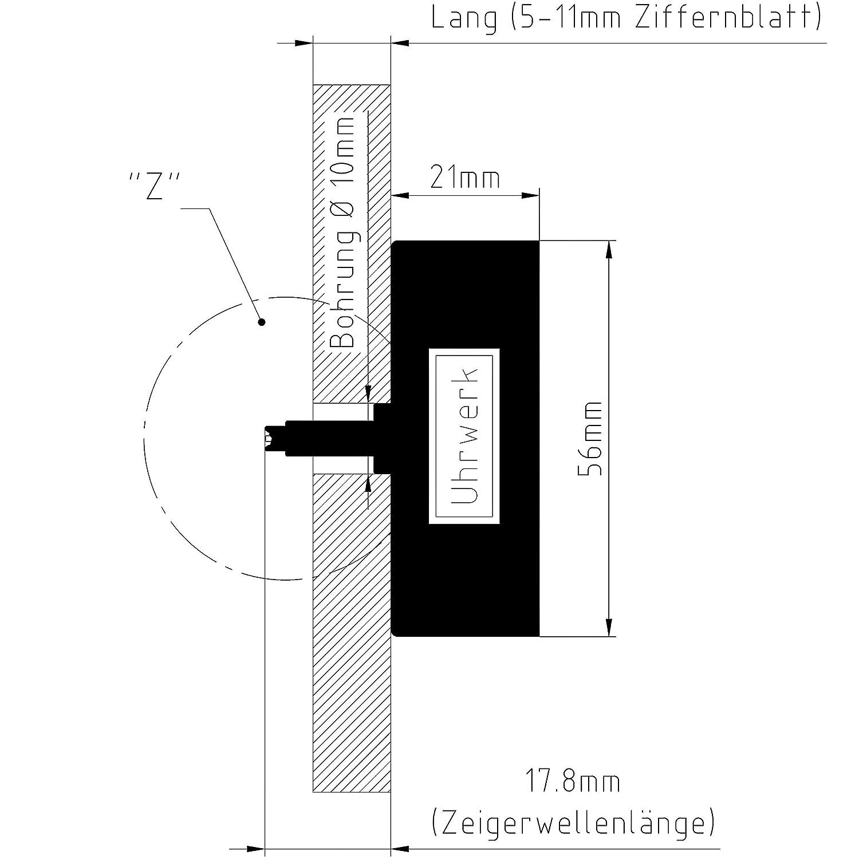 UTS Funkuhrwerk f/ür Ziffernblatt 5-11mm Zeigersatz Nr.2 schwarz-schwarz-schwarz