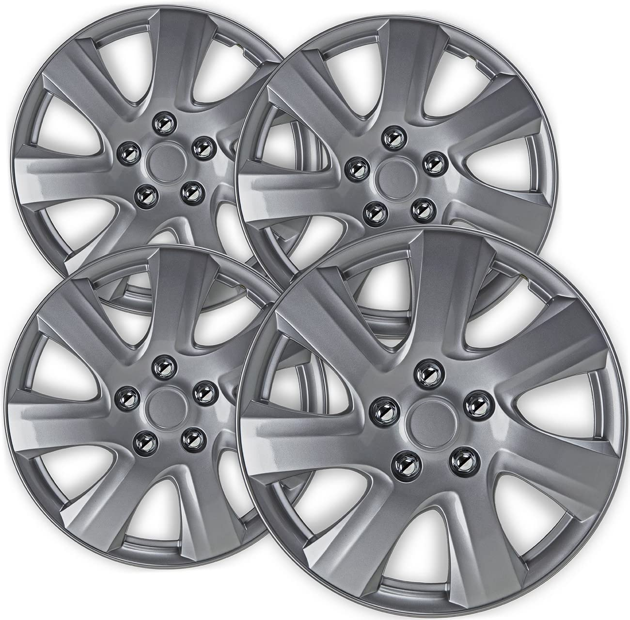 Amazon Com 16 Inch Hubcaps Best For 2010 2011 Toyota Camry Set Of 4 Wheel Covers 16in Hub Caps Silver Rim Cover Car Accessories For 16 Inch Wheels Snap On Hubcap