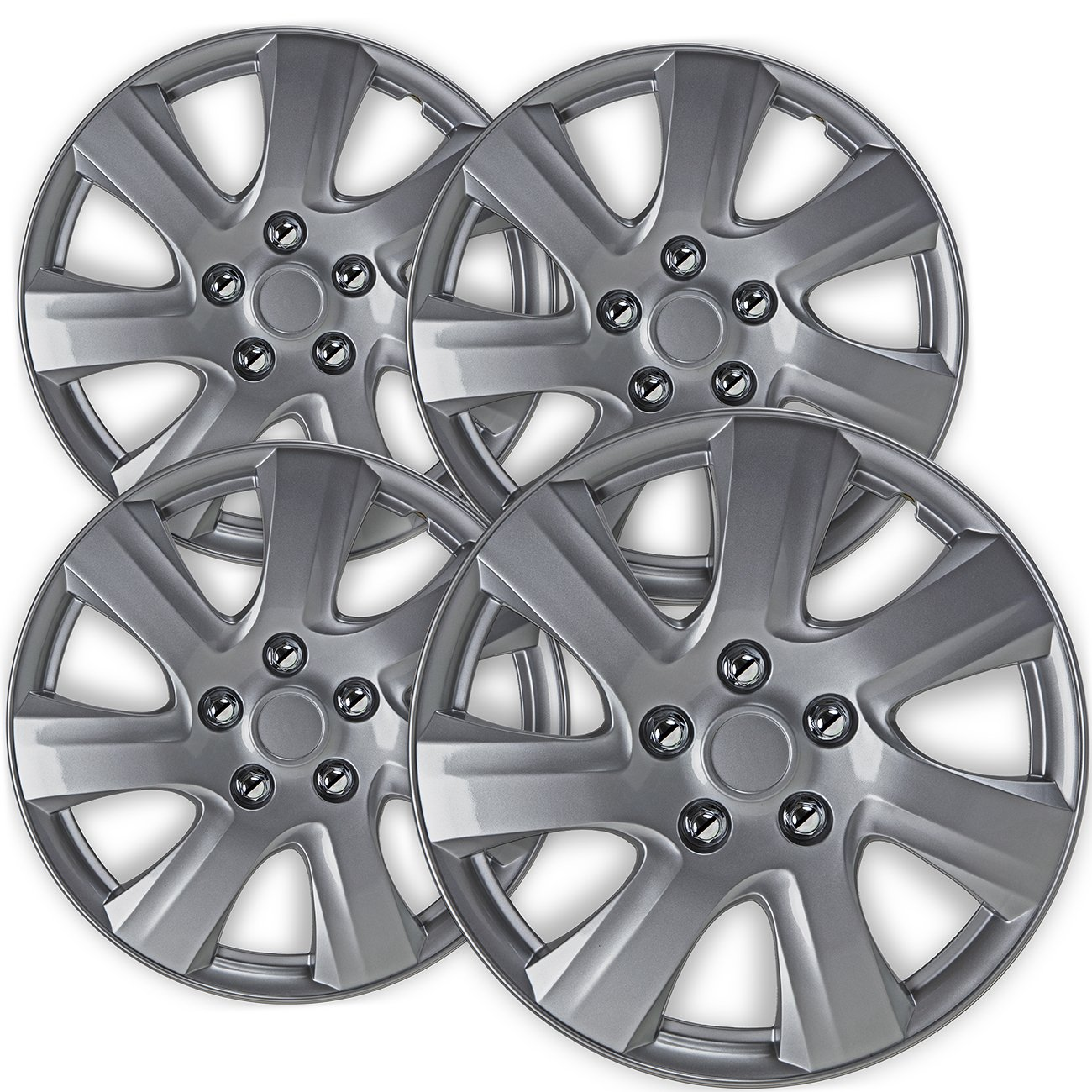 OxGord Hubcaps for Toyota Camry (Pack of 4) Wheel Covers - 16 Inch Silver Replacement by OxGord (Image #1)