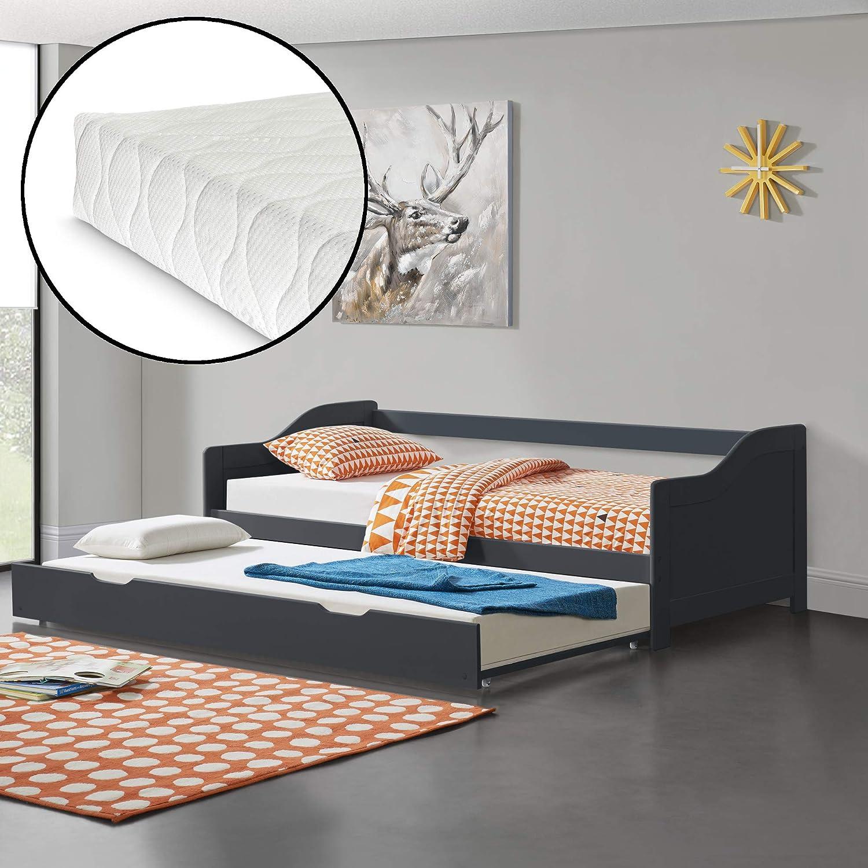 Bianco en.casa 2 Materassi 90 x 200 cm 2 Posti Letto 2 Letti Singoli Divano con Secondo Letto Estraibile