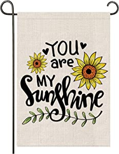 onetoze You are My Sunshine Garden Flag Vertical Double Sided, 12.5X18inches Welcome Garden Flag, Premium Burlap Weather Proof for Yard Outdoor Decoration