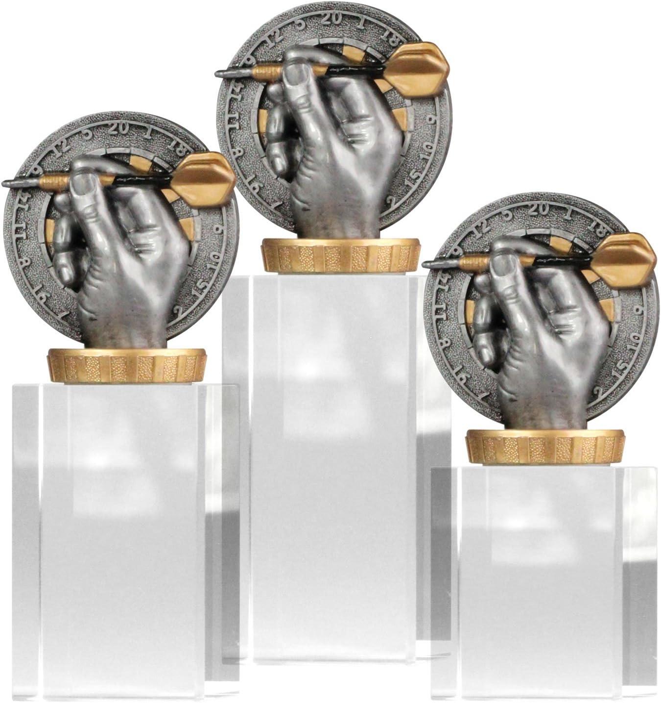 pokalspezialist Pokal Troph/äe Dart//Darts mit Glassockel Gr/ö/ße S M und L
