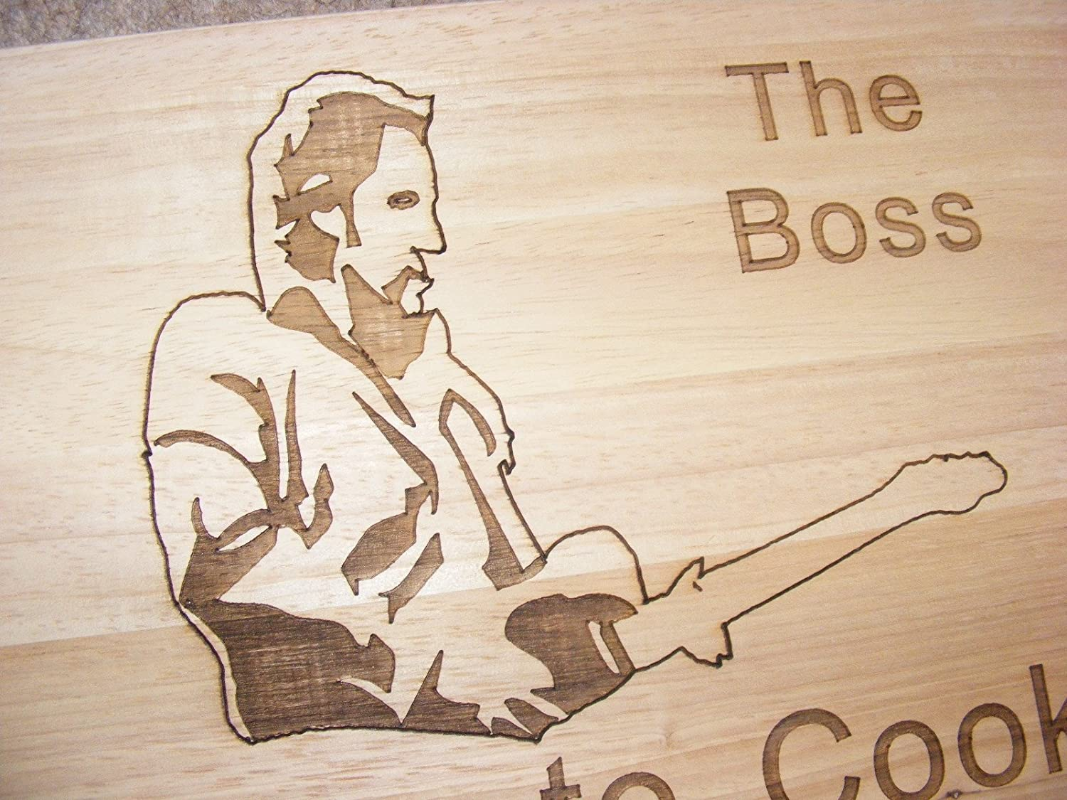 BRUCE SPRINGSTEEN THE BOSS BORN TO COOK GIFT IDEA BAMBOO WOOD CHOPPING CUTTING CHEESE BOARD PLACE MAT COOK LOVE ME TENDER ENGRAVED WOODEN NOVELTY WOOD KITCHEN COOKING BAKING BIRTHDAY PRESENT WOODEN WEDDING LASER ENGRAVED by FASTCRAFT UK (Premium Hardwood