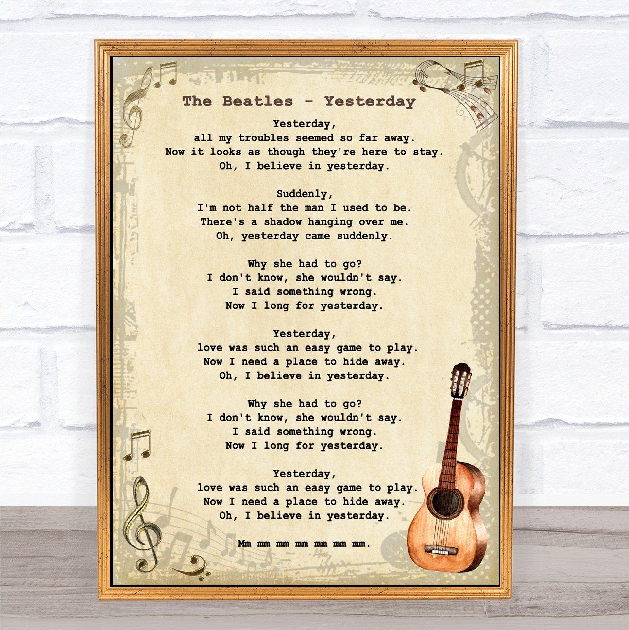 beatles lyrics yesterday - HD1295×1297