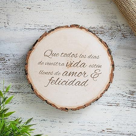 Casa Vivente Rodaja de madera con grabado para bodas - Que todos los días de vuestra vida estén llenos de amor & felicidad - Placa de puerta - Idea ...