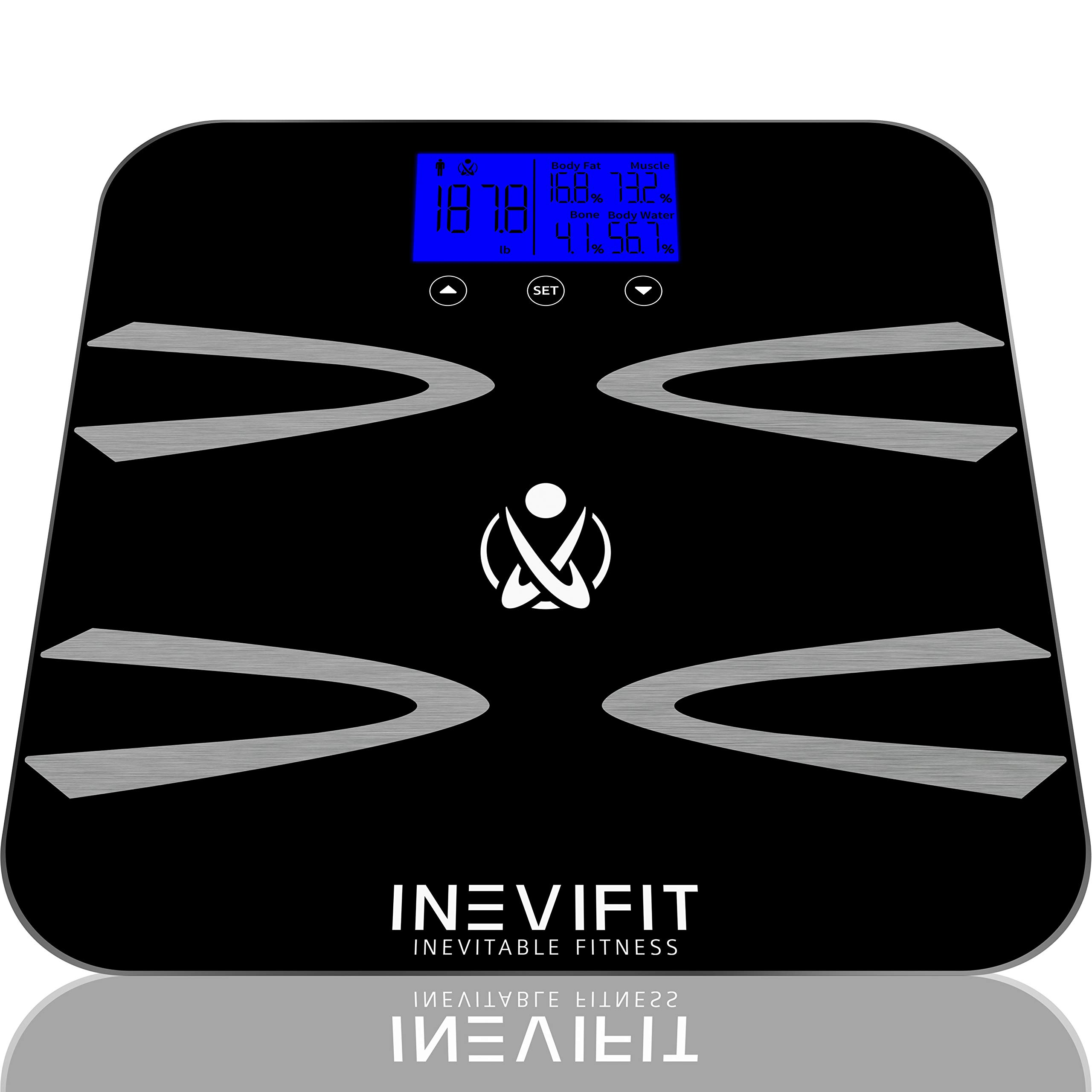 INEVIFIT Body-Analyzer Scale, Highly Accurate Digital Bathroom Body Composition Analyzer, Measures Weight, Body Fat, Water, Muscle, BMI, Visceral Levels & Bone Mass for 10 Users. 5-Year Warranty by INEVIFIT