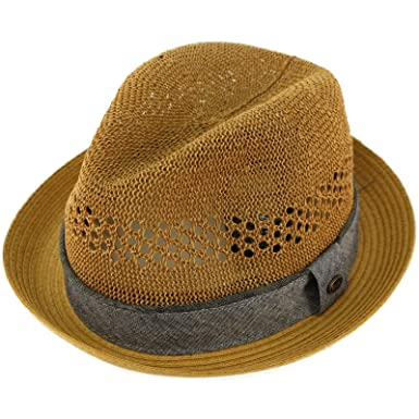 a28b55f788e Epoch Men's Vented Summer Lightweight Derby Fedora Upturn Curl Brim Hat at  Amazon Men's Clothing store:
