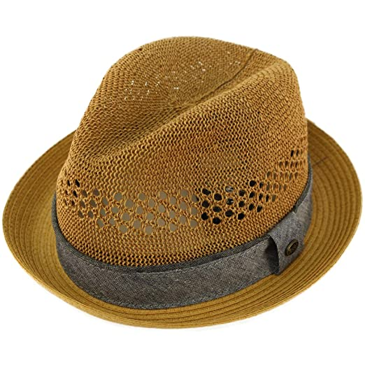 5704c527c805d Epoch Men s Vented Summer Lightweight Derby Fedora Upturn Curl Brim Hat ...